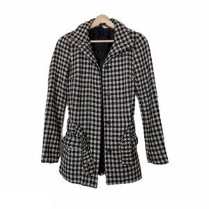 Divided by H&M Wool Blend Gingham Textured Coat
